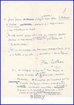 Jean Cocteau / Manuscrit Autographe (1961) / Sur Georges Simenon Et M. Pagnol