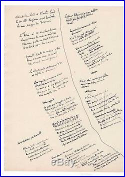 Jean Cocteau / Manuscrit Autographe D'un Poème Inédit / Sur La Mer