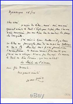 Jean Giono / Lettre Autographe (1930) / Jean Le Bleu / Manosque