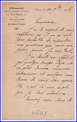 Jean JAURÈS Lettre autographe signée Paris 20 novembre 1906 L'Humanité