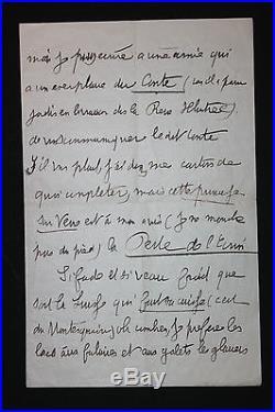 Jean Lorrain LAS 1892 Très belle lettre autographe signée Hotel Suisse Geneve