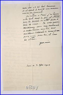 Jean-Louis Forain Lettre autographe signée Viel Castel Huysmans 1900
