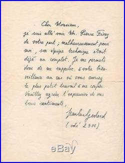 Jean Luc Godard / Lettre Autographe Signée (1950/1955) / Recherche Un Travail