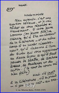 Jean PAULHAN Belle lettre autographe signée à propos de littérature