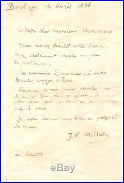 Jean-françois Millet / Lettre Autographe (1866) / Honoré Daumier / Barbizon