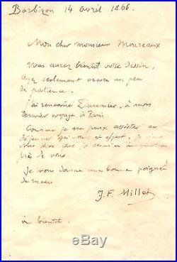 Jean-francois Millet Lettre Autographe (au Sujet De Honoré Daumier)