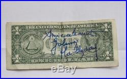 Johnny HALLYDAY Autographe sur DOLLAR obtenu, au départ, à LAS VEGAS, en 1996