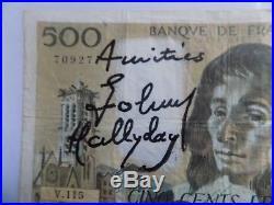 Johnny HALLYDAY autographe HALLYDAY dedicace Billet de Banque 500 francs 1996