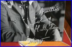 Johnny Hallyday Autographe AOUT 2017, Dedicace Hallyday Photo sur Plexiglass