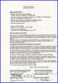 Johnny Hallyday / Contrat Signé (1973) / Thétre / Autographe / Simone Berriau