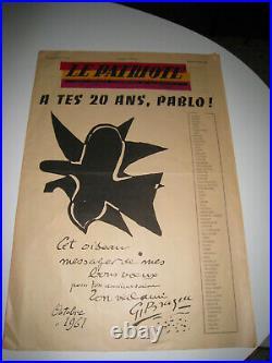 Journal Le Patriote titré A tes 20 ans Pablo 1961