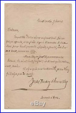 Jules Barbey D'aurevilly / Lettre Autographe À Une Dame / Galanterie