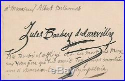 Jules Barbey d'Aurevilly carte autographe signée
