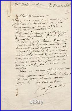 Jules Goncourt Poulet Malassis Riesener meuble lettre autographe signée ébéniste