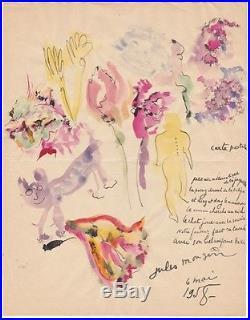 Jules MOUGIN Poème autographe et aquarelle originale