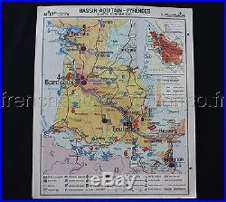 L718 Carte scolaire Bassin aquitain Pyrénnées Vin Région Méditerranéenne wine