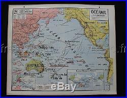 L725 Carte scolaire Etat ++ OCEANIE VIDAL Australie ocean pacifiqe Guinee Java