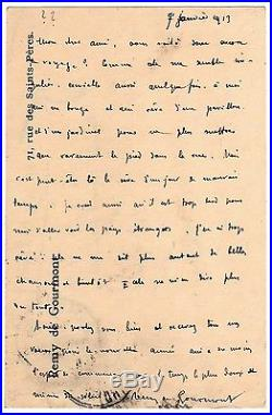 LAS Remy de Gourmont à Octave Uzanne autographe 7 janvier 1913