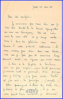 LAS Remy de Gourmont à Octave Uzanne autographe Jeudi 22 novembre 1906