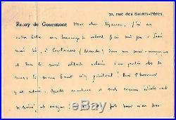 LAS Remy de Gourmont à Octave Uzanne autographe s. D. (ap. Aout 1914)
