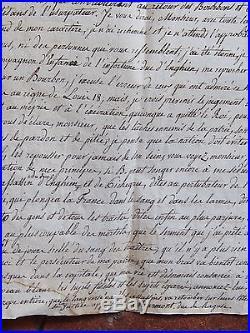 LES 100 JOURS 1815 brouillon de la lettre du MARECHAL MARMONT contre BONAPARTE