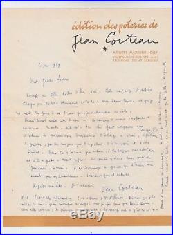 LETTRE MANUSCRITE ET AUTOGRAPHE de JEAN COCTEAU adressée à LOUISE CONTE