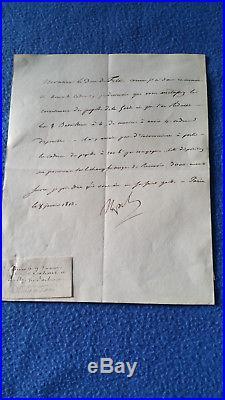 LETTRE SIGNEE NAPOLEON 1er AU DUC DE FELTRE MINISTRE DE LA GUERRE DATEE 1813