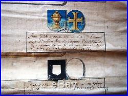 LILLE 1171-1769 long rouleau comportant la généalogie et alliances PETITPAS