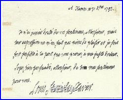 LOUIS XVIII / Lettre autographe signée / Mort de Marie-Antoinette / Révolution
