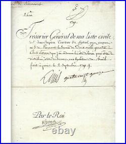 LOUIS XVI, ROI DE FRANCE. Pièce Signée (G 3760)