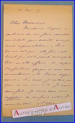 L. A. S 1897 Jacques Emile BLANCHE Peintre Mme (Richard) WAGNER entourage PROUST