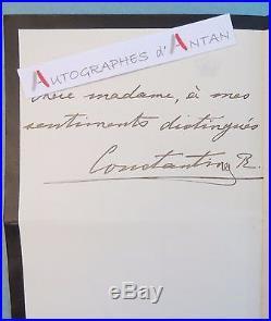 L. A. S Roi CONSTANTIN 1er de GRECE à Beety CHARPENTIER Athènes Lettre autographe