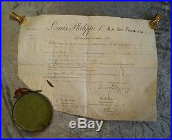 L. S. ROY Louis-Philippe Ier (1773-1850) lettre de dispense PARCHEMIN 1844 #B772S