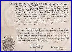 La Roche-Saint-André. Brevet signé La Croix de Castries Troupes Etrangeres. 1772