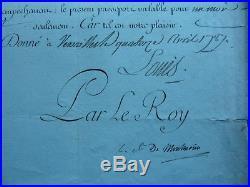 Laissez passer de Paris en Hollande autographe signée Louis XVI Versailles 1787