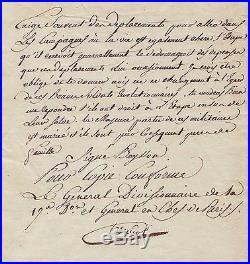 Le célèbre Général HANRIOT autographe (guillotiné avec Robespierre)