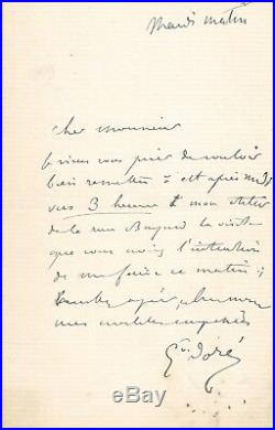 Le célèbre graveur Gustave DORE autographe