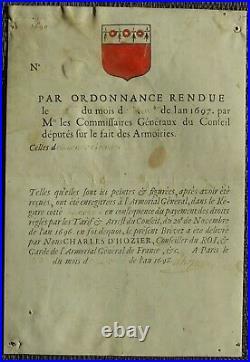 Le grand généalogiste du roi Charles d'HOZIER autographe 1698