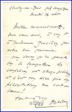 Léo Delibes / Lettre Autographe À Victorien De Joncières