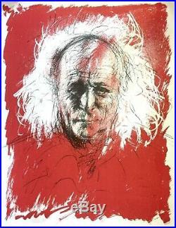 Léo FERRE lithographie signée, contresignée par Jacques PECNARD
