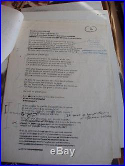 Léo Férré 7 pages dactylo avec corrections manuelles la violence et l'ennui