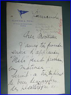 Lettre Autographe Avec Signature Arletty Cinema Theatre Piece Melo Claridge 1929