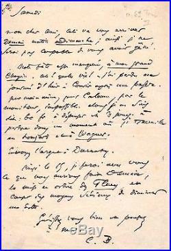 Lettre Autographe De Charles Baudelaire (au Sujet Des Fleurs Du Mal)