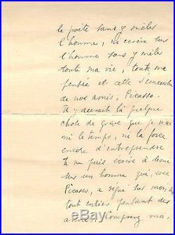 Lettre Autographe De Max Jacob (décès D'apollinaire)