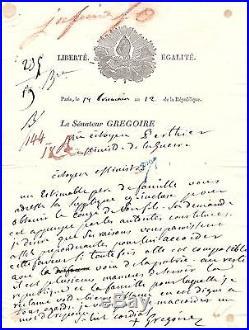 Lettre Autographe Signée De L'abbé Grégoire (1803)