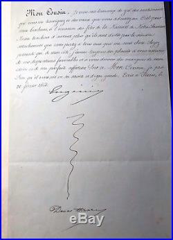 Lettre Autographe Signée De Limpératrice Eugénie A Son Cousin Du 20 Février 63