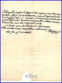Lettre Autographe Signée De Mirabeau (1775 / En Exil)