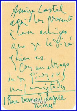 Lettre Autographe Signée De Pablo Picasso André Castel-leiris-arènes-nîmes