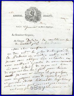 Lettre Autographe Signée de l'ABBE GREGOIRE 1802, Batavie, Desèze
