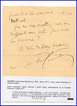 Lettre Autographe signée Sacha Guitry. Sd. 2 Pages In-4. Traces écrites, Paris